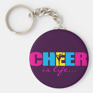 Personalized Cheer Cheerleading Purple Basic Round Button Keychain