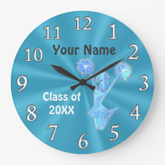 Personalized Cheer Clocks, Cheerleading Room Decor Large Clock