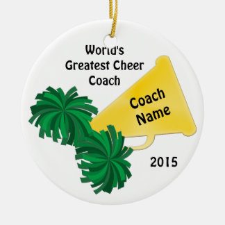 Personalized Cheer Coach Gifts with 8 Text Boxes Ceramic Ornament