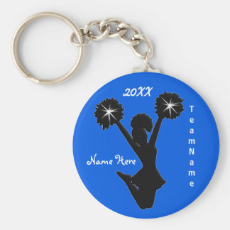 Personalized Cheer Squad Gifts with 3 Text Boxes Basic Round Button Keychain
