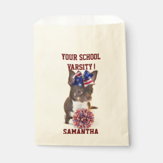 Personalized Cheerleader chihuahua treat bags