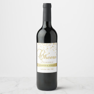 Personalized CHEERS White Gold Confetti Wedding Wine Label