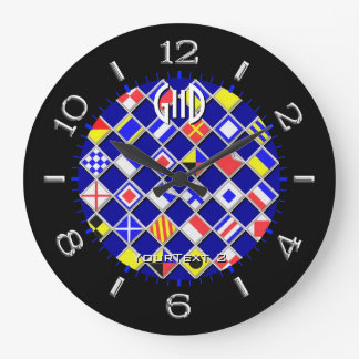 Personalized Chequered Nautical Flags Dial on a Clock