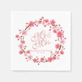 Personalized Cherry Blossom Wreath | Napkin