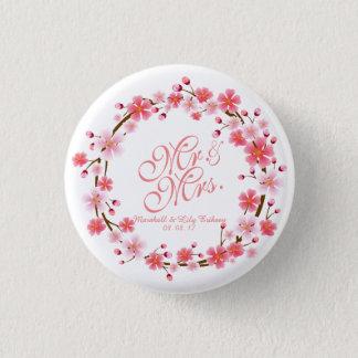 Personalized Cherry Blossom Wreath | Pin Button