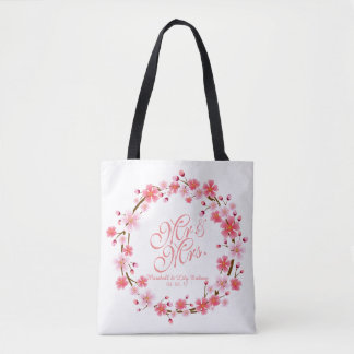 Personalized Cherry Blossom Wreath | Tote Bag