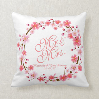 Personalized Cherry Blossom Wreath Wedding Pillow