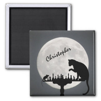 Personalized Chess Full Moon Cat and Mouse Game Square Magnet