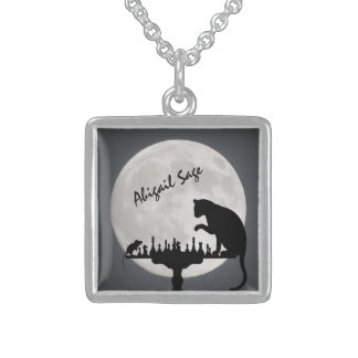 Personalized Chess Full Moon Cat and Mouse Game Sterling Silver Necklace