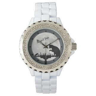 Personalized Chess Full Moon Cat and Mouse Game Watch