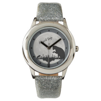 Personalized Chess Full Moon Cat and Mouse Game Wristwatches