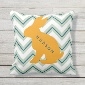 Personalized Chevron Animal Nursery Set of 4 Bunny Throw Pillow
