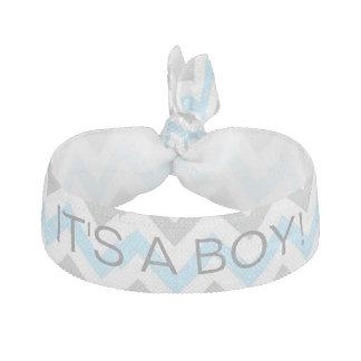 Personalized Chevron Blue & White 'It's a Boy!' Hair Tie