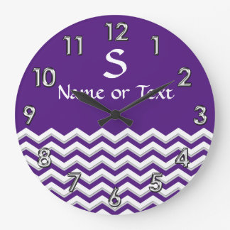 Personalized Chevron Clock in YOUR COLORS