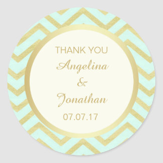 Personalized Chevron Ivory Mint Gold Foil Wedding Round Sticker
