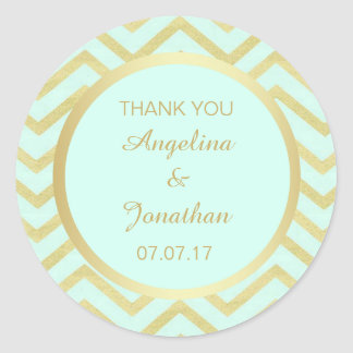 Personalized Chevron Mint Green Gold Foil Wedding Classic Round Sticker