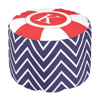Personalized Chevron Nautical Pattern Navy Red Pouf
