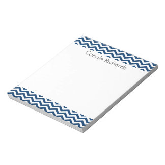 Personalized Chevron Notepad - navy
