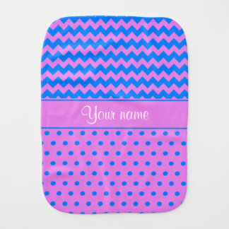 Personalized Chevrons Polka Dots Violet Azure Baby Burp Cloths