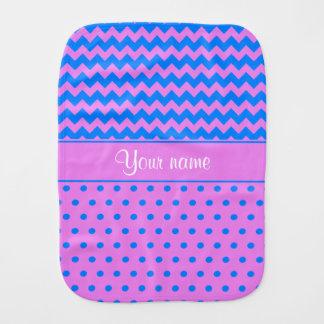 Personalized Chevrons Polka Dots Violet Azure Burp Cloth