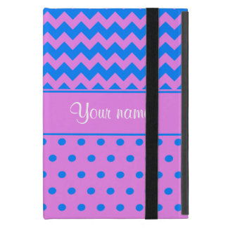 Personalized Chevrons Polka Dots Violet Azure Cases For iPad Mini