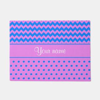 Personalized Chevrons Polka Dots Violet Azure Doormat