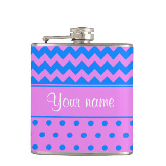 Personalized Chevrons Polka Dots Violet Azure Hip Flask