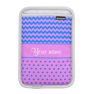 Personalized Chevrons Polka Dots Violet Azure iPad Mini Sleeve