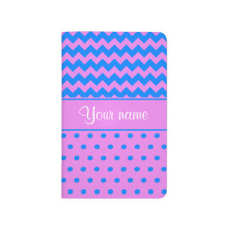 Personalized Chevrons Polka Dots Violet Azure Journals