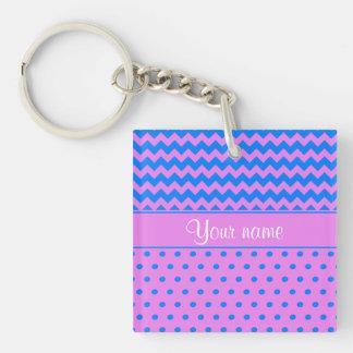 Personalized Chevrons Polka Dots Violet Azure Keychain