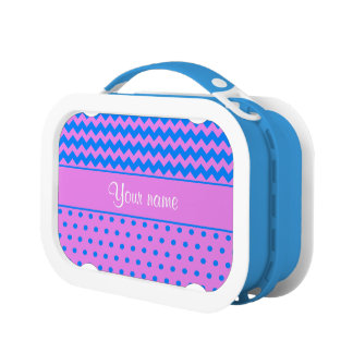 Personalized Chevrons Polka Dots Violet Azure Lunch Box