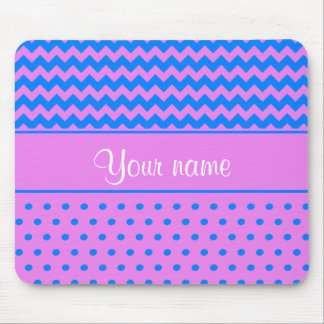 Personalized Chevrons Polka Dots Violet Azure Mouse Pad