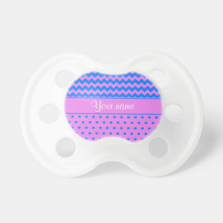 Personalized Chevrons Polka Dots Violet Azure Pacifier