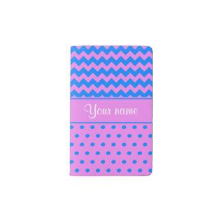 Personalized Chevrons Polka Dots Violet Azure Pocket Moleskine Notebook