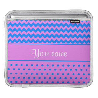 Personalized Chevrons Polka Dots Violet Azure Sleeve For iPads