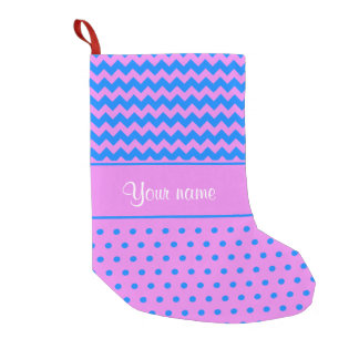 Personalized Chevrons Polka Dots Violet Azure Small Christmas Stocking