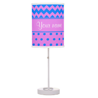 Personalized Chevrons Polka Dots Violet Azure Table Lamp