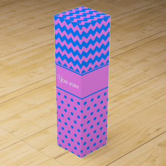 Personalized Chevrons Polka Dots Violet Azure Wine Gift Box