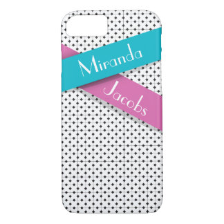 Personalized Chic Black White Blue Pink Ribbons iPhone 8/7 Case