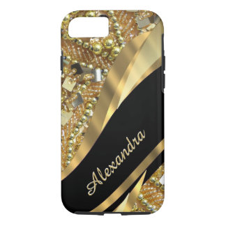 Personalized chic elegant black and gold bling iPhone 8/7 case