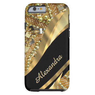 Personalized chic elegant black and gold bling tough iPhone 6 case