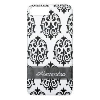 Personalized chic elegant black and white damask iPhone 7 plus case