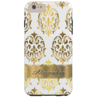 Personalized chic elegant gold and white damask tough iPhone 6 plus case