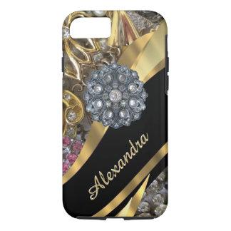 Personalized chic elegant gold rhinestone bling Case-Mate iPhone case
