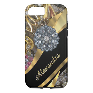 Personalized chic elegant gold rhinestone bling iPhone 8/7 case