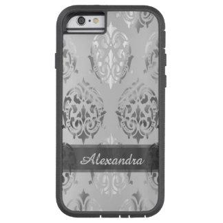 Personalized chic elegant silver grey damask tough xtreme iPhone 6 case
