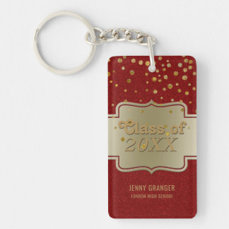 Personalized Chic Gold Red Glitter   Graduation Single-Sided Rectangular Acrylic Keychain