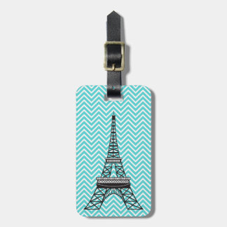 Personalized Chic Paris Eiffel Tower Blue Chevron Luggage Tag