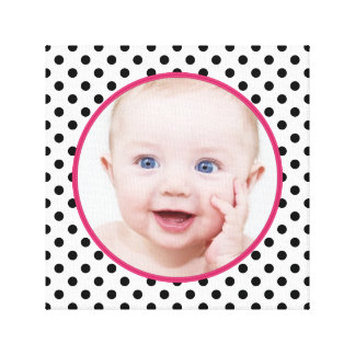 Personalized Chic Polka Dot Baby Photo Picture Canvas Print