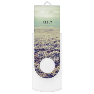 Personalized chic summer beach ocean seaside photo swivel USB 2.0 flash drive
